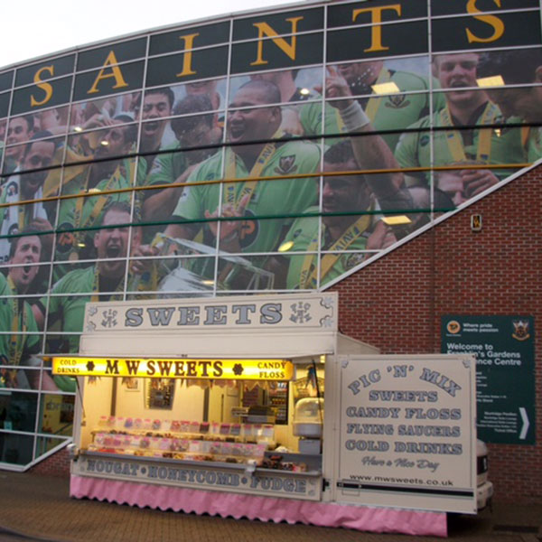 Mobile confectionery sweets trailer at Northampton Saints ground